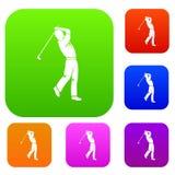 Vastgestelde de kleureninzameling van de golfspeler royalty-vrije illustratie