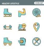 Vastgestelde de premiekwaliteit van de pictogrammenlijn van gezonde van de de inzamelingsgymnastiek van het levensstijlpictogram  Stock Foto