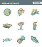 Vastgestelde de premiekwaliteit van de pictogrammenlijn van rust op de oceaan het zwemmen de vakantiezomer van de reisrecreatie M Royalty-vrije Stock Fotografie
