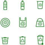 Vastgestelde de voorraadvector van ecologiepictogrammen van plastic producten stock illustratie