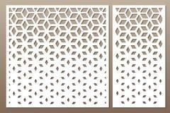 Vastgestelde decoratieve kaart voor knipsel Vierkant patroon Laserbesnoeiing Rati vector illustratie