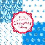 Vastgestelde decoratieve vector vier van Kerstmis eenvoudige patronen stock illustratie