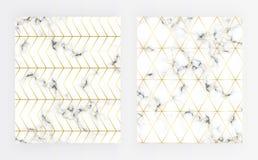 Vastgestelde dekkings witte marmeren textuur met gouden lijnpatroon Achtergrond voor ontwerpen, banner, kaart, vlieger, uitnodigi royalty-vrije illustratie