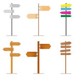 Vastgestelde die verkeersteken van hout of metaal voor uw ontwerpproject worden gemaakt Geïsoleerd op wit Stock Foto