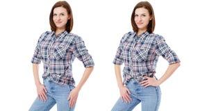 Vastgestelde die vrouw in vrijetijdskleding op witte achtergrond, collage wordt geïsoleerd stock foto's