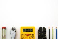 Vastgestelde elektricienhulpmiddelen Stock Foto