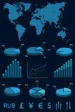 Vastgestelde elementen van infographics. Royalty-vrije Stock Afbeelding
