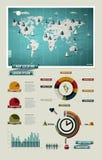 Vastgestelde elementen van infographics. De Kaart van de wereld Royalty-vrije Stock Afbeeldingen