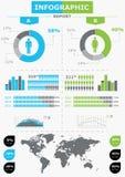 Vastgestelde elementen van infographics. De Kaart van de wereld en informeert Royalty-vrije Stock Afbeelding