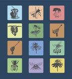Vastgestelde emblemen en honingbijen 2 Stock Afbeeldingen
