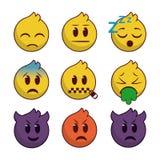 Vastgestelde emoji met lijnenrand vector illustratie