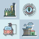 Vastgestelde energietechnologie aan behoud de planeet royalty-vrije illustratie
