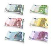 Vastgestelde euro bankbiljetten Stock Foto