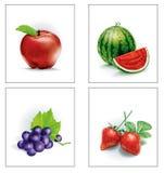 Vastgestelde Fruitappel en watermeloen en druiven en aardbeien Royalty-vrije Stock Foto's