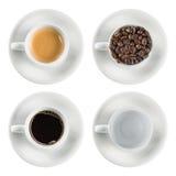 Vastgestelde geïsoleerde koffiekop royalty-vrije stock fotografie