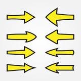 Vastgestelde gele pijlen met een zwarte slag Tekenwijzer Stock Foto's