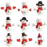 Vastgestelde gelukkige geïsoleerde sneeuwman Royalty-vrije Stock Foto