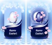 Vastgestelde Gelukkige Pasen in blauwe kleur Stock Fotografie