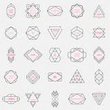Vastgestelde geometrische tekens, etiketten, en kaders Royalty-vrije Stock Afbeeldingen