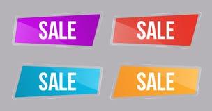 Vastgestelde Glanzende bannerverkoop, kleurenknopen voor aandelen voor plaatsen, reclamevliegers en aanplakborden, reclame, marke vector illustratie