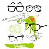 Vastgestelde glazen en zonnebril Royalty-vrije Stock Afbeeldingen