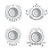 Vastgestelde golfbal in centrum van zilveren die kroon op wit wordt geïsoleerd Illustratie van openlucht het ontwerppictogram van vector illustratie