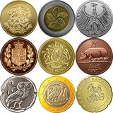 Vastgestelde gouden en zilveren muntstukken Royalty-vrije Stock Fotografie