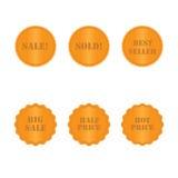 Vastgestelde gouden etiketten en stickers Stock Afbeeldingen