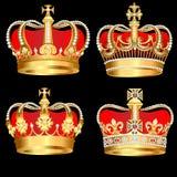 Vastgestelde gouden kronen op zwarte achtergrond Royalty-vrije Stock Fotografie