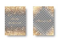 Vastgestelde gouden lichte transparante achtergrond Stock Foto