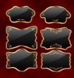 Vastgestelde gouden uitstekende etiketten met ontwerpelementen Stock Afbeelding