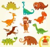 Vastgestelde grappige voorhistorische dieren Het karakter van het beeldverhaal Stock Afbeelding