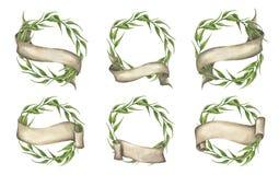 Vastgestelde ofgroene bladerenkroon met lint Hand getrokken waterverfillustratie royalty-vrije illustratie