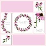Vastgestelde groet en bezoekkaart Hand getrokken gekleurde schets met kroon van echinaceabloemen en boeket Stock Foto's