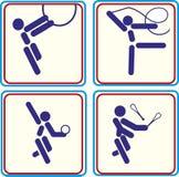 Vastgestelde gymnastiek- Sport Vectorillustratiepictogrammen Stock Afbeeldingen