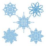 Vastgestelde halftone sneeuwvlokken. Vector Stock Afbeelding