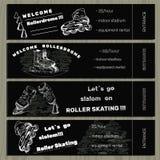 Vastgestelde hand getrokken kaartjes op Rollerdrom met Rolschaats op krijt Stock Foto