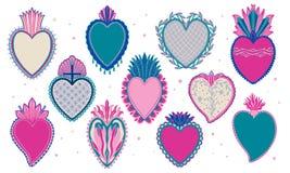 Vastgestelde Heilige Mexicaanse geestkleur De godsdienst van het zielsymbool Het heilige hart van het decoratieembleem Sacramente vector illustratie