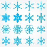 Vastgestelde het Nieuwjaarkerstmis van het Sneeuwvlokpatroon Royalty-vrije Stock Afbeeldingen