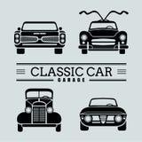 Vastgestelde het pictogram vectorillustraties van de vooraanzicht klassieke auto Royalty-vrije Stock Afbeeldingen