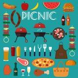 Vastgestelde het voedsel vectorillustratie van de barbecuegrill Stock Afbeelding