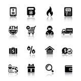 Vastgestelde het winkelen pictogrammen Royalty-vrije Stock Foto