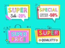 Vastgestelde Hoogte van de speciale aanbieding de Super Verkoop - kwaliteitslabels stock illustratie