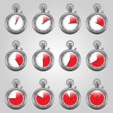 Vastgestelde horlogeshorloges met een rode streek Stock Afbeeldingen