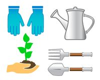 Vastgestelde hulpmiddelen - kleurrijk tuinwerktuig Royalty-vrije Stock Foto