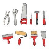 Vastgestelde hulpmiddelen voor de reparatie van flats Royalty-vrije Stock Afbeeldingen
