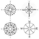 Vastgestelde illustratie van artistiek kompas. vector illustratie