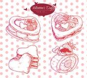 Vastgestelde illustratie van diverse soorten cakes en koekjes met fruit en berrys De dag van Valentine - heerlijk baksel royalty-vrije stock fotografie