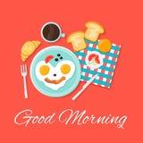 Vastgestelde illustratie van het ontbijt de vlakke vectorpictogram Ouderwetse ochtendscène: antieke schrijfmachine, kop van verse Royalty-vrije Stock Foto's