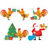Vastgestelde illustraties van de haan en Kerstmis Stock Afbeeldingen
